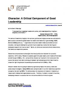Character: A Critical Component of Good Leadership