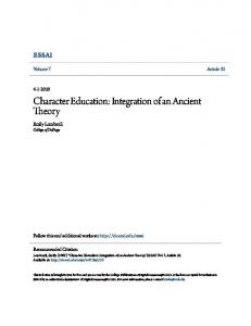 Character Education: Integration of an Ancient Theory