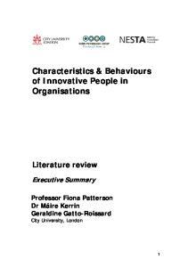 Characteristics & Behaviours of Innovative People in Organisations