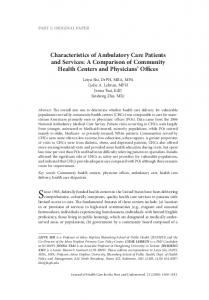 Characteristics of Ambulatory Care Patients and Services: A Comparison of Community Health Centers and Physicians Offices