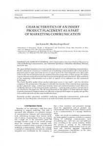 CHARACTERISTICS OF AN INSERT PRODUCT PLACEMENT AS A PART OF MARKETING COMMUNICATION