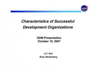 Characteristics of Successful Development Organizations