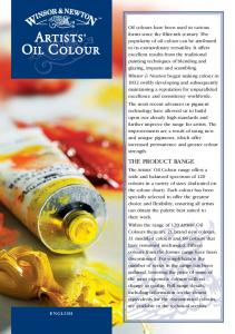 Characteristics of the Artists Oil Colour Range
