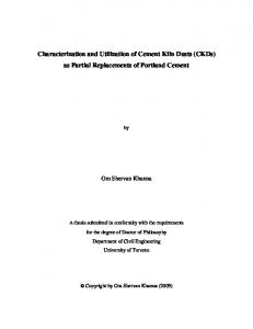 Characterization and Utilization of Cement Kiln Dusts (CKDs) as Partial Replacements of Portland Cement
