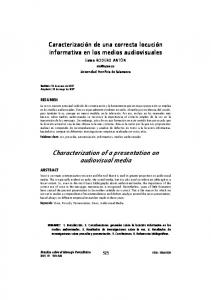 Characterization of a presentation on audiovisual media