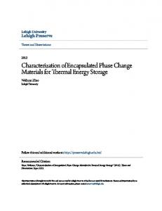 Characterization of Encapsulated Phase Change Materials for Thermal Energy Storage