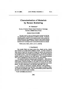 Characterization of Materials by Raman Scattering