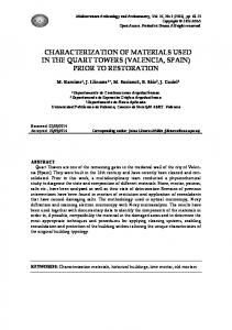 CHARACTERIZATION OF MATERIALS USED IN THE QUART TOWERS (VALENCIA, SPAIN) PRIOR TO RESTORATION