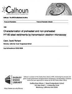 Characterization of preheated and non-preheated HY-80 steel weldments by transmission electron microscopy