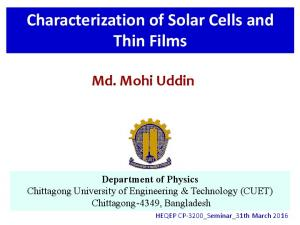 Characterization of Solar Cells and Thin Films