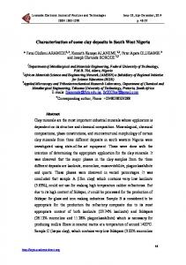 Characterization of some clay deposits in South West Nigeria