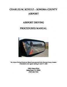 CHARLES M. SCHULZ SONOMA COUNTY AIRPORT AIRPORT DRIVING PROCEDURES MANUAL