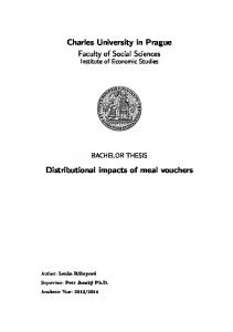 Charles University in Prague Faculty of Social Sciences. Distributional impacts of meal vouchers
