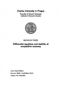 Charles University in Prague Faculty of Social Sciences. Differential equations and stability of competitive economy