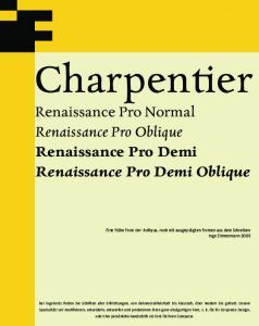 Charpentier. Renaissance Pro Normal Renaissance Pro Oblique Renaissance Pro Demi Renaissance Pro Demi Oblique