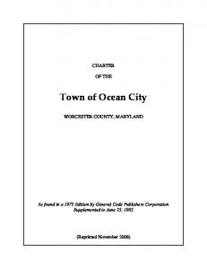 CHARTER OF THE. Town of Ocean City WORCESTER COUNTY, MARYLAND