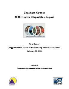 Chatham County 2010 Health Disparities Report