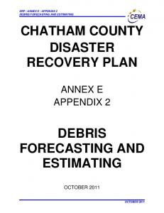 CHATHAM COUNTY DISASTER RECOVERY PLAN