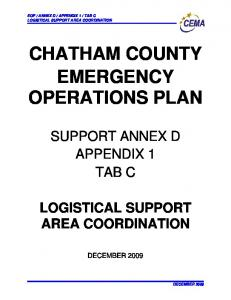CHATHAM COUNTY EMERGENCY OPERATIONS PLAN