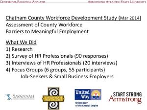 Chatham County Workforce Development Study (Mar 2014) Assessment of County Workforce Barriers to Meaningful Employment