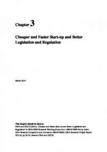 Cheaper and Faster Start-up and Better Legislation and Regulation