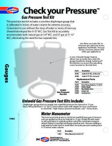 Check your Pressure. Gauges. Uniweld Gas Pressure Test Kits Include: