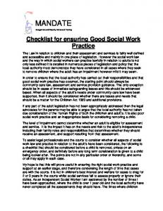 Checklist for ensuring Good Social Work Practice