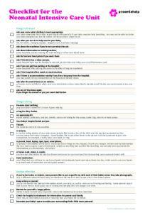 Checklist for the Neonatal Intensive Care Unit