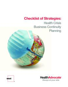 Checklist of Strategies: Health Crisis Business Continuity Planning