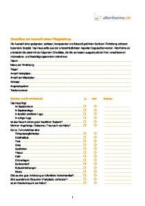 Checkliste zur Auswahl eines Pflegeheimes