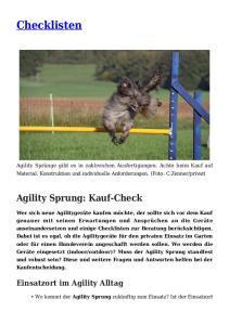 Checklisten. Agility Sprung: Kauf-Check. Einsatzort im Agility Alltag