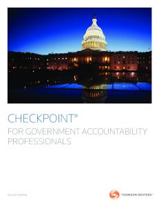 CHECKPOINT FOR GOVERNMENT ACCOUNTABILITY PROFESSIONALS TAX & ACCOUNTING