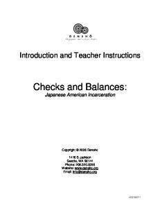 Checks and Balances: Japanese American Incarceration