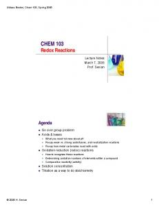 CHEM 103 Redox Reactions
