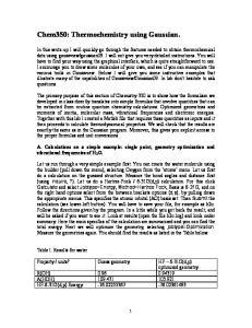 Chem350: Thermochemistry using Gaussian