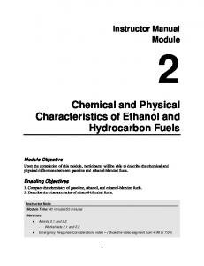 Chemical and Physical Characteristics of Ethanol and Hydrocarbon Fuels