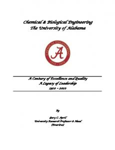 Chemical & Biological Engineering The University of Alabama