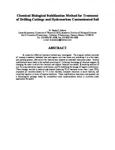 Chemical-Biological Stabilization Method for Treatment of Drilling Cuttings and Hydrocarbon Contaminated Soil ABSTRACT