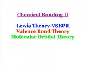 Chemical Bonding II. Lewis Theory-VSEPR Valence Bond Theory Molecular Orbital Theory