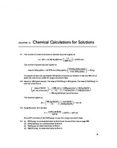 Chemical Calculations for Solutions