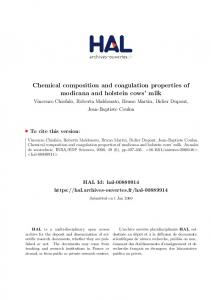 Chemical composition and coagulation properties of modicana and holstein cows milk