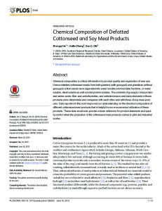 Chemical Composition of Defatted Cottonseed and Soy Meal Products