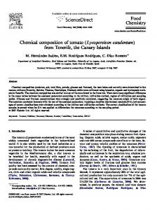 Chemical composition of tomato (Lycopersicon esculentum) from Tenerife, the Canary Islands