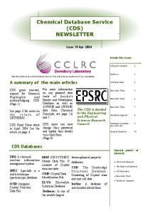 Chemical Database Service (CDS) NEWSLETTER