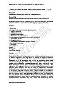 CHEMICAL ECOLOGY Chemical Ecology of Marine Bacteria and Algae - Slattery M., Gochfeld D.J. CHEMICAL ECOLOGY OF MARINE BACTERIA AND ALGAE