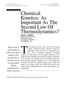 Chemical Kinetics: As Important As The Second Law Of Thermodynamics?