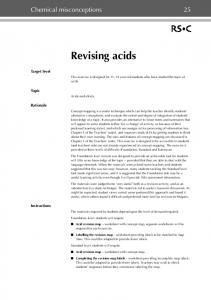 Chemical misconceptions 25. Revising acids. Foundation level: students will require. Standard level: students will require