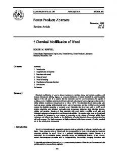 Chemical Modification of Wood