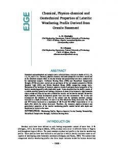 Chemical, Physico-chemical and Geotechnical Properties of Lateritic Weathering Profile Derived from Granite Basement