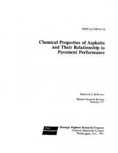 Chemical Properties of Asphalts and Their Relationship to Pavement Performance